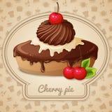 Cherry pie emblem stock illustration