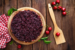 Cherry pie. And fresh berries stock photo