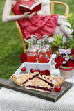 Cherry pie at the garden party table. Woman in red dress reading Royalty Free Stock Images