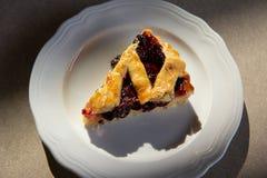 Cherry pie in harsh light. With dark shadows stock photo