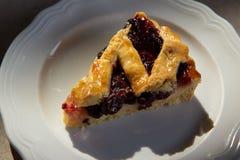 Cherry pie in harsh light. With dark shadows royalty free stock photo