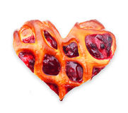 Cherry pie heart shape Stock Images