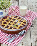 Cherry pie. Homemade cherry pie on the wood background royalty free stock image