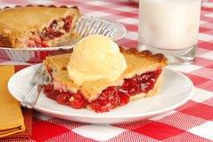 Cherry pie with ice cream Royalty Free Stock Image