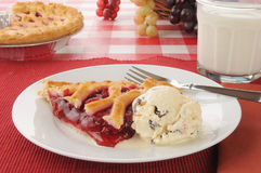 Cherry pie a la mode stock photo