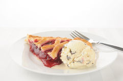 Cherry pie a la mode royalty free stock image