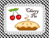 Cherry Pie, Lace Doily Place Mat, Black Gingham Stock Photography