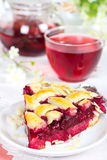 Cherry pie with lattice and tea karkade Royalty Free Stock Photography