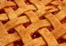 Cherry Pie with Lattice Top. Close-up of cherry pie with lattice top sprinkled with cinnamon stock photography