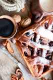 Cherry pie with lattice top Stock Images