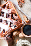 Cherry pie with lattice top Royalty Free Stock Image