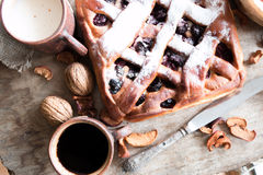Cherry pie with lattice top Stock Photos