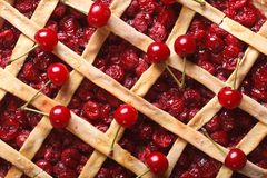 Cherry pie macro background. horizontal top view Royalty Free Stock Photo