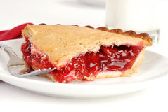 Cherry pie and milk Royalty Free Stock Photo