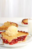 Cherry pie and milk Stock Photography