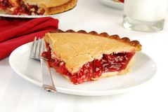 Cherry pie and milk Stock Image