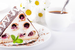 Cherry pie with mint and a cup of coffee Royalty Free Stock Photo