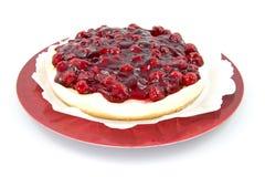 Cherry pie on plate stock photo