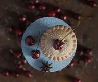 Cherry pie stand wooden top view cake cupcake dessert macro close up bakery royalty free stock photos