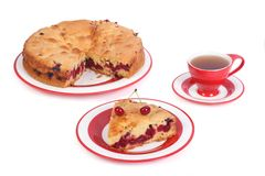 Cherry pie and tea  on white. Background Stock Photography