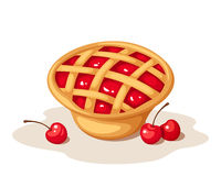 Cherry pie. Vector illustration. Stock Image