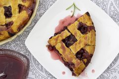 Cherry pie on white plate stock image