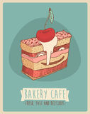 Cherry. Piece of cake (Happy Birthday card) sweet cupcakes illustration, engraved retro style, hand drawn Stock Image