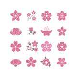 Cherry pink flower, spring sakura blossom vector icon set Stock Photography