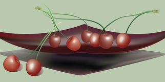 Cherry on plate. Ripe cherry isolated on green background Stock Images