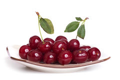 Cherry on a plate isolated Stock Photography