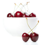 Cherry plate rött moget Fotografering för Bildbyråer