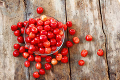 Cherry in a plate. Sweet cherry in a plate on the table Stock Photos
