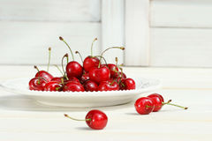 Cherry plate white Arkivbild