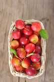 Cherry-plum in basket Royalty Free Stock Photos