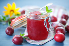 Cherry plum jam with a bank Royalty Free Stock Photos