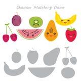 Cherry plum watermelon kiwi papaya banana strawberries isolated on white background, Shadow Matching Game for Preschool Children. Find the correct shadow Stock Photos