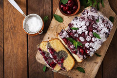 Cherry poppy seed cake Stock Images
