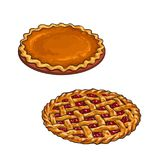 Cherry and pumpkin pie, thanksgiving dessert Royalty Free Stock Photography