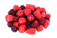 Cherry, raspberry, blackberry in a bunch isolated on white. Cherry, raspberry, blackberry. berries in a bunch isolated on white Stock Images