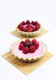 Cherry and raspberry tarts. Two tarts with cherries and raspberries Stock Image