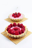 Cherry and raspberry tarts. Raspberry tart, another tart with cherry in the background Stock Image