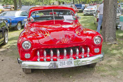 Cherry Red 1950 Merc front view Royalty Free Stock Image