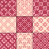 Cherry red and beige floral ornaments. Collection of seamless patterns. For paper, textile Stock Image