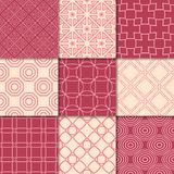 Cherry red and beige geometric ornaments. Collection of seamless patterns. For web, textile and wallpapers Royalty Free Stock Images