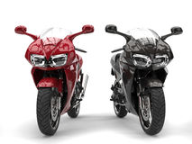 Cherry red and black modern super sports bikes Stock Images