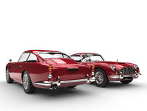 Cherry red classic vintage cars - front and back view Stock Photo
