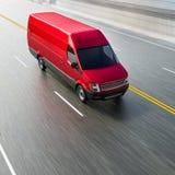 Cherry Red Commercial Van no movimento vazio da estrada borrou a ilustração 3d Imagens de Stock Royalty Free