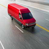 Cherry Red Commercial Van op Lege Wegmotie vertroebelde 3d Illustratie Stock Illustratie