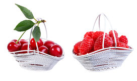Cherry and red currant  isolated on white Stock Photo