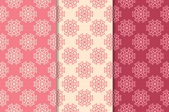 Cherry red floral ornaments. Set of vertical seamless patterns. Wallpaper backgrounds Royalty Free Stock Photos